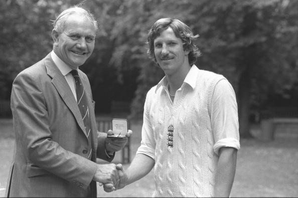 Aug 1979:  Alec Bedser presents Ian Botham of England with a special Cornhill Medal for taking the fastest ever 100 test wickets after the England v India test match at Lords.     Mandatory Credit:  Adrian Murrell/Allsport UK