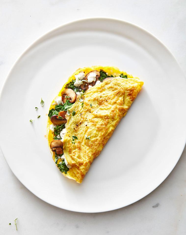 """<p>It's another <a rel=""""nofollow"""" href=""""http://www.cookinglight.com/healthy-living/healthy-habits/meatless-recipes"""">Meatless Monday</a>, but you don't have to trade going sans meat for feeling full after dinner. Protein-rich eggs are a great go-to option, and an omelet is a fun way to serve up a little creativity at dinner. We use olive oil to sauté the veggies and cook the omelet because it brings mild fruity-grassy taste to the dish and keeps saturated fat in check. There's just a tablespoon of cheese here, so we chose sharp cheddar: It melts nicely and packs a flavor wallop in a small dose. The recipe makes an omelet for one, so you can customize each person's omelet and serve to order with a side dish of <a rel=""""nofollow"""" href=""""http://www.myrecipes.com/recipe/spinach-with-vinaigrette"""">spinach salad</a>, <a rel=""""nofollow"""" href=""""http://www.cookinglight.com/recipes/go-big-or-go-home-fries"""">home fries</a>, or fruit.</p> <p><a rel=""""nofollow"""" href=""""http://www.cookinglight.com/recipes/half-moon-browned-omelet"""">View Recipe: Half-Moon Browned Omelet</a></p>"""