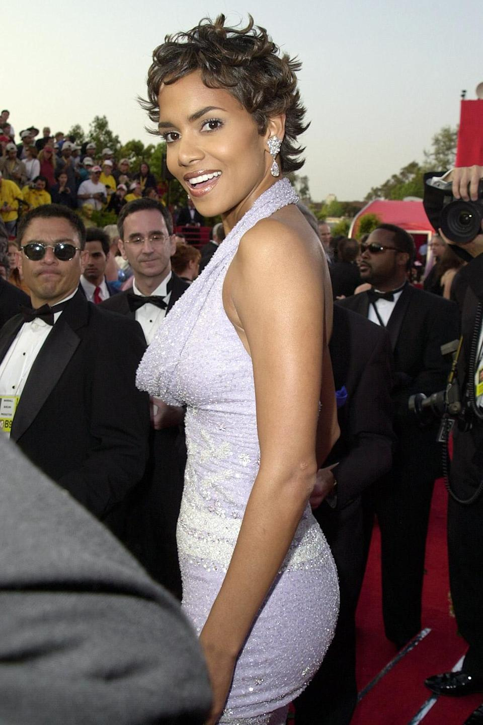 <p>Halle Berry looked positively radiant in a light purple, beaded number in 2001. In 2002, she'd go on to be the first Black woman to win Best Actress at the Oscars. </p>