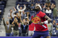Frances Tiafoe, of the United States, reacts after winning the fourth game in the fourth set against Andrey Rublev, of Russia, at the third round of the US Open tennis championships, Saturday, Sept. 4, 2021, in New York. (AP Photo/Frank Franklin II)