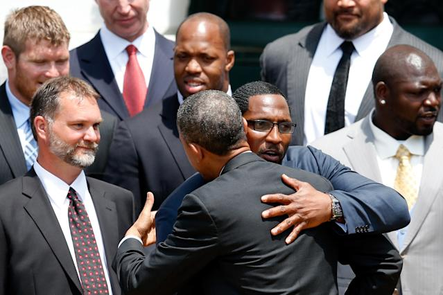 WASHINGTON, DC - JUNE 05: U.S. President Barack Obama gets a hug from former linebacker Ray Lewis after welcoming members of the National Football League Super Bowl champion Baltimore Ravens during a South Lawn ceremony on June 5, 2013 in Washington, DC. The Ravens defeated the San Francisco 49ers 34-31 in Super Bowl XLVII. (Photo by Rob Carr/Getty Images)