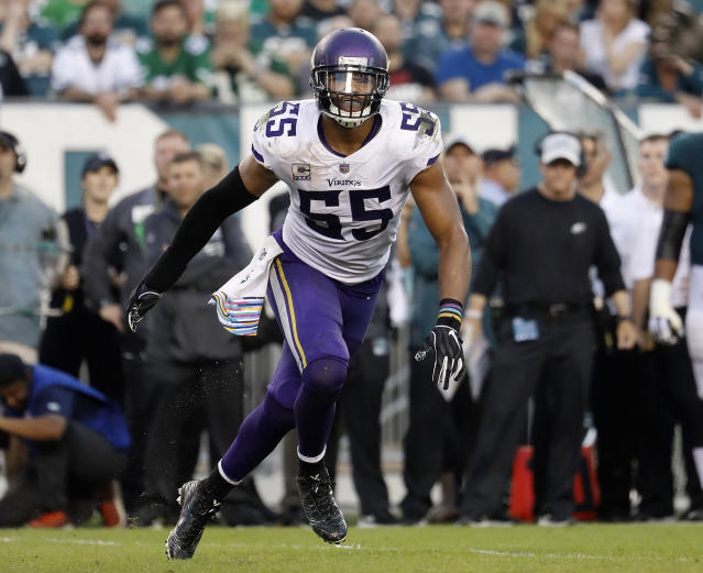 FILE - In this Oct. 7, 2018, file photo, Minnesota Vikings linebacker Anthony Barr chases the action during an NFL football game against the Philadelphia Eagles in Philadelphia. The Vikings are keeping the heart of their defense intact with a hefty commitment to linebacker Anthony Barr, who changed his mind after an initial agreement to join the New York Jets. (Winslow Townson/AP Images for Panini, File)