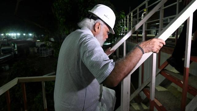 Prime Minister Narendra Modi on Sunday evening inspected the construction site of the new Parliament building. Image Credit: Twitter/@ANI