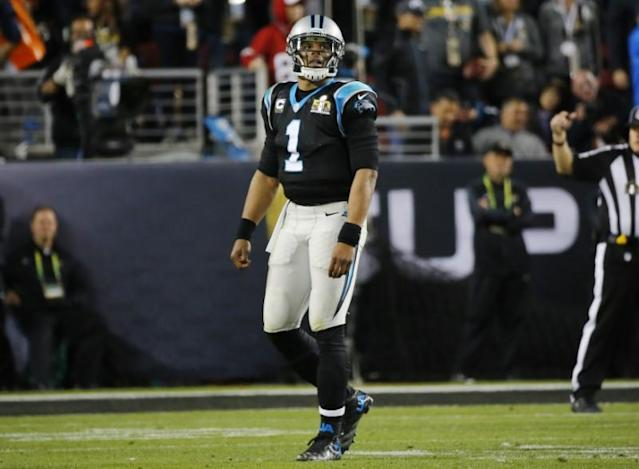 Carolina Panthers' quarterback Cam Newton walks off the field late in the fourth quarter during the NFL's Super Bowl 50 football game against the Denver Broncos in Santa Clara