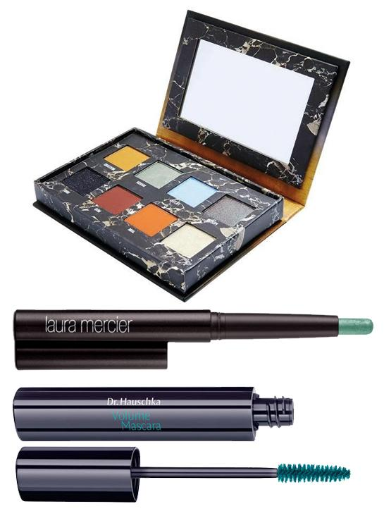 Crayon Yeux Caviar Stick Eye Colour peacock, Laura Mercier, 30 € en exclusivité chez Sephora. Mascara Volume Deep Infinity turquoise, Dr. Hauschka, 24,70 €. Palette Fards à Paupières Venus II, Lime Crime, 32,50 € sur Urbanoutfitters.com.