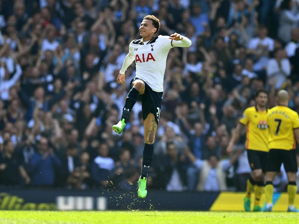 Alli celebrates scoring Tottenham's first goal in the easy win over Watford (Getty)