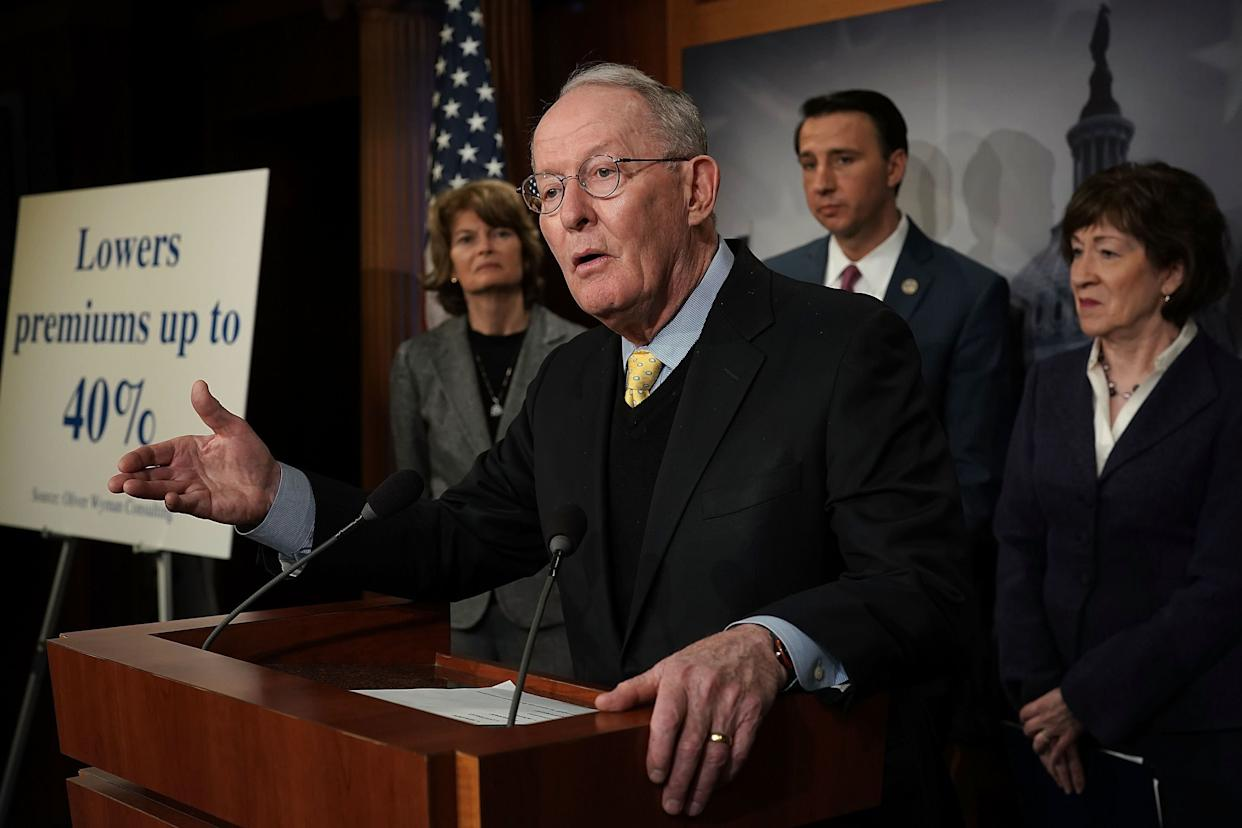 Sen. Lamar Alexander (R-Tenn.) speaks at a March 21 news conference on Capitol Hill to discuss Republican legislative proposals on health insurance premiums. (Photo: Alex Wong via Getty Images)