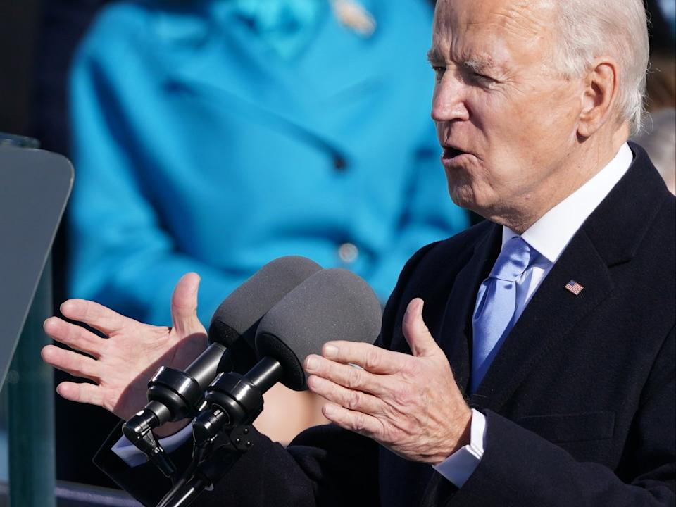 Joe Biden delivers a speech after being sworn in as the 46th President of the United States during which he addressed the severity of the coronavirus pandemic across the US, the rise of political extremism, and outlined a path towards unity for the nationREUTERS