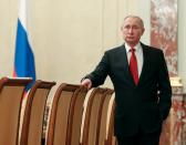Russian President Putin attends a meeting with government members in Moscow
