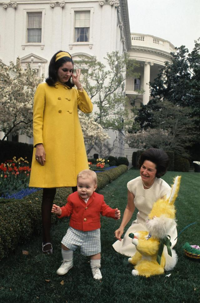 <p>Lady Bird Johnson, right, is shown at the White House Rose Garden with grandson Patrick Lyndon Nugent, Lynda Bird Robb and an Easter Bunny. (Photo: Bettmann/Getty Images) </p>