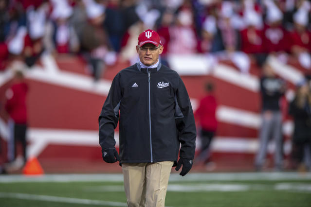 Indiana head coach Tom Allen watches as the team warms up on the field before an NCAA college football game against Northwestern, Saturday, Nov. 2, 2019, in Bloomington, Ind. Indiana won 34-3. (AP Photo/Doug McSchooler)