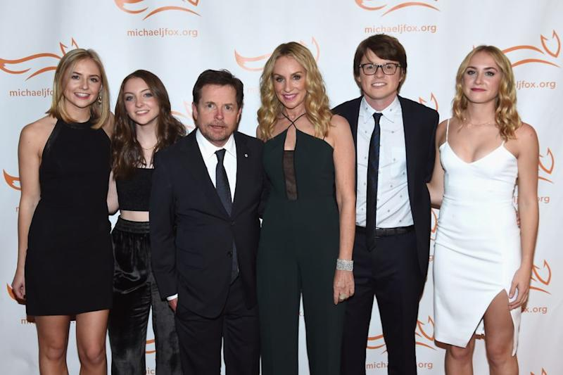 Michael J. Fox and Tracy Pollan with (from left) Schuyler, Esmé, Sam and Aquinnah at a 2017 benefit for the Michael J. Fox Foundation