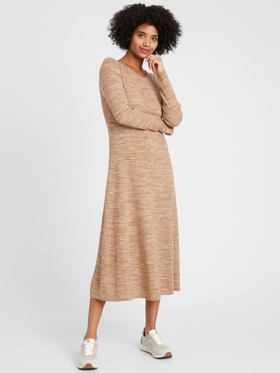 <p>You can lounge around all day in this <span>Ribbed Maxi Sweater Dress</span> ($111, originally $139).</p>