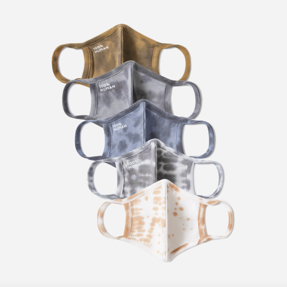 The 100% Human Face Mask 5-Pack in Neutral Tie-Dye (Photo via Everlane)