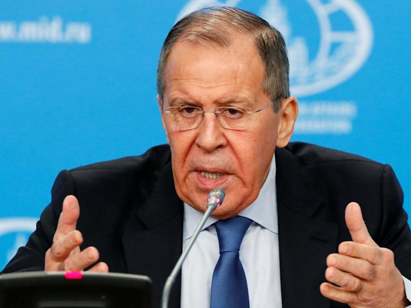 Foreign Minister Sergei Lavrov gestures as he speaks during his annual news conference in Moscow: Reuters