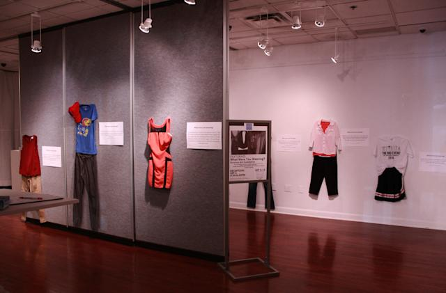 """A photo of the """"What Were You Wearing?"""" gallery atthe University of Kansas. (Jennifer Sprague)"""