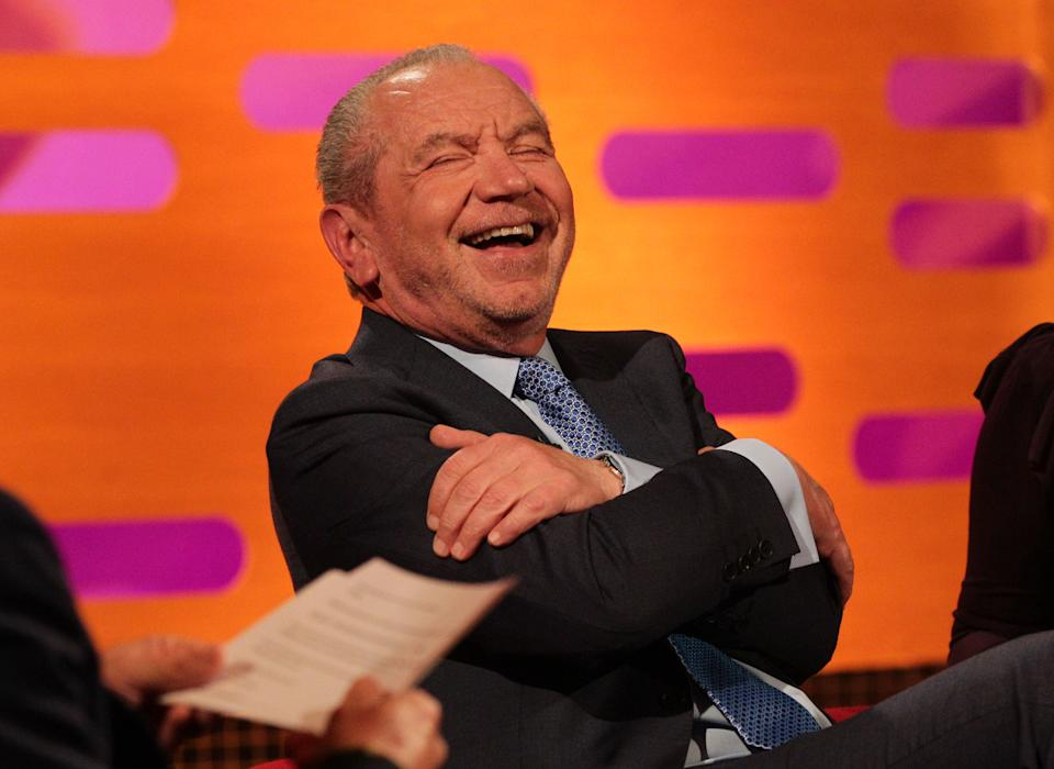 Guest Lord Alan Sugar during filming of The Graham Norton Show at The London Studios in south London.   (Photo by Yui Mok/PA Images via Getty Images)