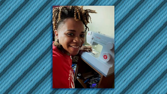 Liselle Ferdinand at work on her sewing machine in Brooklyn, New York. (Photo: Illustration: HuffPost; Photo: Courtesy Liselle Ferdinand)
