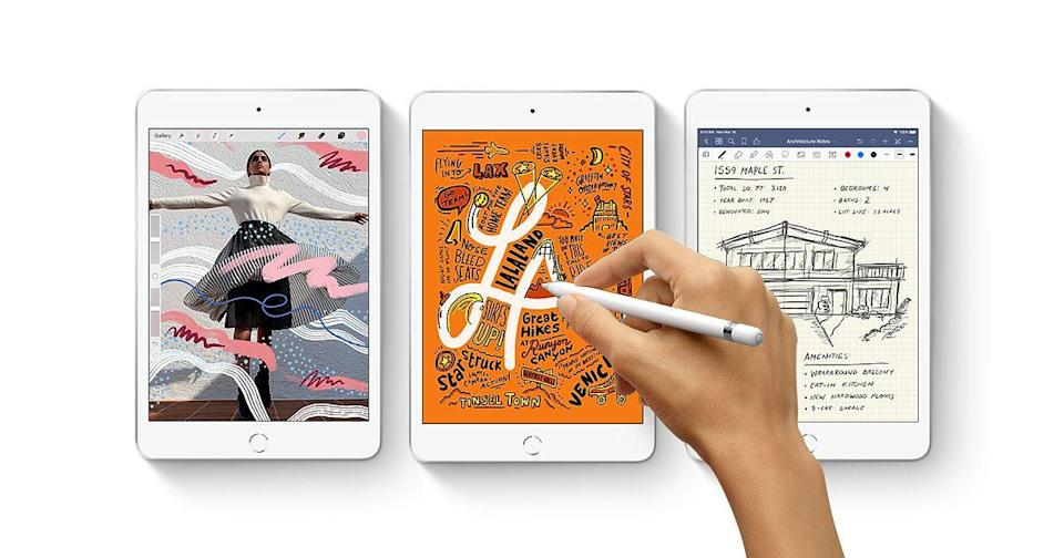 """<p><strong>Pictured: Apple iPad Mini</strong></p><p>apple.com</p><p><strong>$529.00</strong></p><p><a href=""""https://go.redirectingat.com?id=74968X1596630&url=https%3A%2F%2Fwww.apple.com%2Fshop%2Fbuy-ipad%2Fipad-mini&sref=https%3A%2F%2Fwww.goodhousekeeping.com%2Flife%2Fmoney%2Fg4609%2Fback-to-school-sales%2F"""" rel=""""nofollow noopener"""" target=""""_blank"""" data-ylk=""""slk:Shop Now"""" class=""""link rapid-noclick-resp"""">Shop Now</a></p><ul><li>Buy a <a href=""""https://go.redirectingat.com?id=74968X1596630&url=https%3A%2F%2Fwww.apple.com%2Fus-hed%2Fshop%2Fback-to-school&sref=https%3A%2F%2Fwww.goodhousekeeping.com%2Flife%2Fmoney%2Fg4609%2Fback-to-school-sales%2F"""" rel=""""nofollow noopener"""" target=""""_blank"""" data-ylk=""""slk:Mac or iPad"""" class=""""link rapid-noclick-resp"""">Mac or iPad</a>, and get <strong>free AirPods</strong>.</li><li>Take <strong>20% off</strong> <a href=""""https://go.redirectingat.com?id=74968X1596630&url=https%3A%2F%2Fwww.apple.com%2Fsupport%2Fproducts%2Fmac.html&sref=https%3A%2F%2Fwww.goodhousekeeping.com%2Flife%2Fmoney%2Fg4609%2Fback-to-school-sales%2F"""" rel=""""nofollow noopener"""" target=""""_blank"""" data-ylk=""""slk:AppleCare+"""" class=""""link rapid-noclick-resp"""">AppleCare+</a>.</li><li><strong>Save up to $200</strong> on eligible Macs purchases.</li><li><a href=""""https://go.redirectingat.com?id=74968X1596630&url=https%3A%2F%2Fwww.apple.com%2Fus-hed%2Fshop%2Ftrade-in&sref=https%3A%2F%2Fwww.goodhousekeeping.com%2Flife%2Fmoney%2Fg4609%2Fback-to-school-sales%2F"""" rel=""""nofollow noopener"""" target=""""_blank"""" data-ylk=""""slk:Trade-in"""" class=""""link rapid-noclick-resp"""">Trade-in</a> an old Mac device for store credit.</li><li>Students can get six free months of <a href=""""https://go.redirectingat.com?id=74968X1596630&url=https%3A%2F%2Fitunes.apple.com%2Fstudent%3Fapp%3Dmusic%26itscg%3D10000%26itsct%3Dsub_bts_2020_landingpage&sref=https%3A%2F%2Fwww.goodhousekeeping.com%2Flife%2Fmoney%2Fg4609%2Fback-to-school-sales%2F"""" rel=""""nofollow noopener"""" target=""""_blank"""" data-ylk=""""slk:Apple Music"""" class=""""link rapid-noclick-resp"""