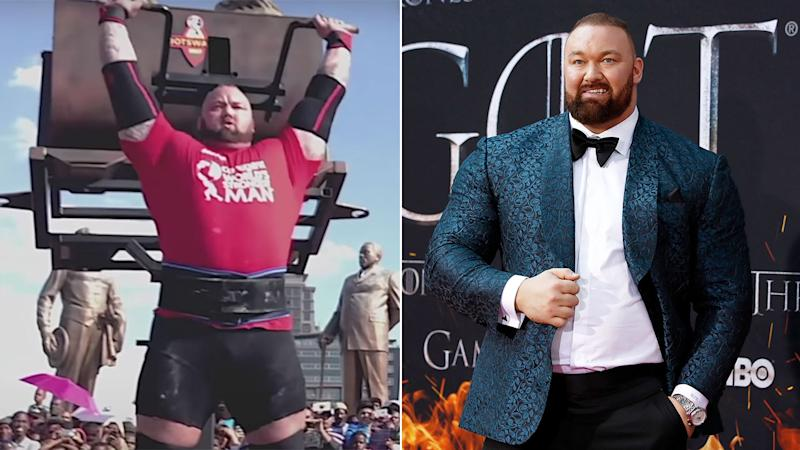 Pictured here, Game of Thrones star Hafthor Bjornsson and footage from the controversial 2017 World's Strongest Man event.