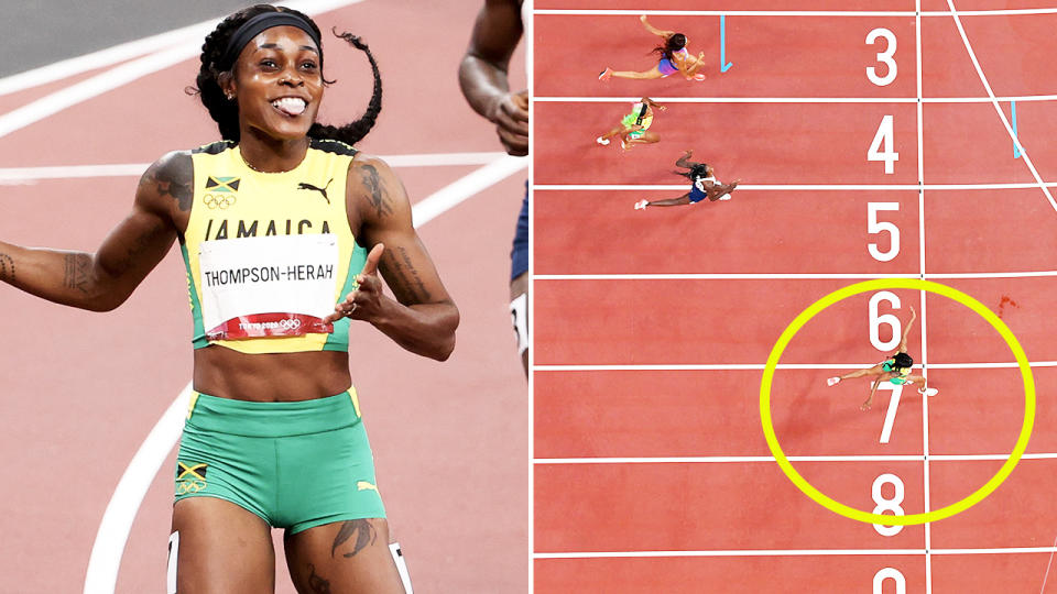 Elaine Thompson-Herah, pictured here becoming the first woman to do the 100-200m double-double at at the Olympics.