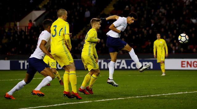 Soccer Football - European Under 21 Championship Qualifier - England vs Ukraine - Bramall Lane, Sheffield, Britain - March 27, 2018 England's Domiic Solanke scores their second goal Action Images via Reuters/Jason Cairnduff