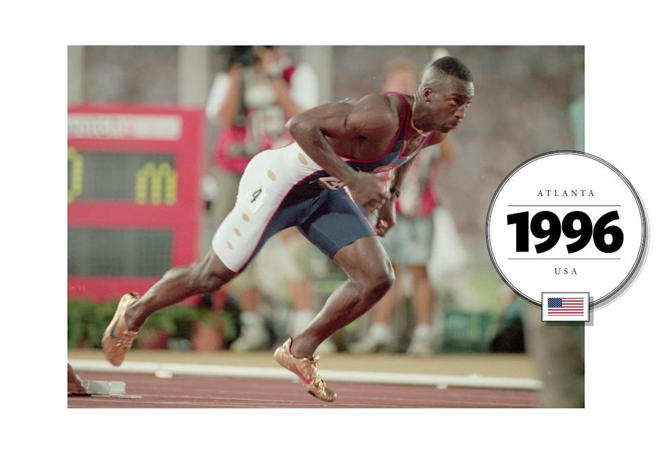 """Michael Duane Johnson introduced the """"onesie"""" at the 1996 Summer Olympics in Atlanta. Johnson entered the Olympic finals donning a custom-designed pair of golden Nike spikes, made with Zytel (a kind of nylon, used for a number of different high strength impacts). (Getty Images)"""