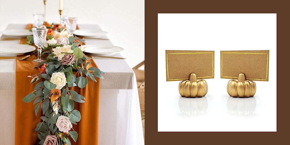 """<p class=""""body-dropcap"""">Whether you're hosting Thanksgiving dinner this year or keeping it virtual, your home deserves a little autumnal glow-up. Pro tip: Some of the best Thanksgiving decor is on Amazon—and I'm not just saying that. Pumpkins, plaid, candles, garlands, turkey motifs on things that really have no business being turkey-themed—you can find it all there.</p><p>Not only does the retail giant have tonsssss of cute <a href=""""https://www.cosmopolitan.com/lifestyle/g36661579/amazon-fall-decorations/"""" rel=""""nofollow noopener"""" target=""""_blank"""" data-ylk=""""slk:fall home decor"""" class=""""link rapid-noclick-resp"""">fall home decor</a> options to choose from, but you can also compare prices with other vendors and read up on customer reviews. Both are clutch moves if ya asked me. We love being an informed buyer!</p><p>But if you're on the hunt for some Turkey Day decorations, then know that you won't have to do the aforementioned work, because I've gone ahead and done it for you. Below, you'll find 14 Thanksgiving <a href=""""https://www.cosmopolitan.com/lifestyle/g35084813/best-interior-design-items-hacks-on-amazon/"""" rel=""""nofollow noopener"""" target=""""_blank"""" data-ylk=""""slk:decor ideas from Amazon"""" class=""""link rapid-noclick-resp"""">decor ideas from Amazon</a> that have all been vetted by yours truly and also the great people who have left top-rated Amazon reviews. All high quality. All cute. And, yes, all affordable.</p><p>(Oh, and if you need some <a href=""""https://www.cosmopolitan.com/style-beauty/fashion/g37233214/gift-ideas-for-thanksgiving/"""" rel=""""nofollow noopener"""" target=""""_blank"""" data-ylk=""""slk:Thanksgiving gifts"""" class=""""link rapid-noclick-resp"""">Thanksgiving gifts</a> and <a href=""""https://www.cosmopolitan.com/style-beauty/fashion/g8245557/thanksgiving-outfits/"""" rel=""""nofollow noopener"""" target=""""_blank"""" data-ylk=""""slk:outfit ideas"""" class=""""link rapid-noclick-resp"""">outfit ideas</a>, <em>Cosmo</em>'s gotchu covered there, too!)</p>"""