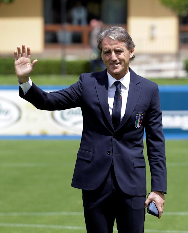 Soccer Football - Italy - Roberto Mancini Press Conference - Coverciano, Florence, Italy - May 15, 2018 New Italy coach Roberto Mancini poses after the press conference REUTERS/Max Rossi