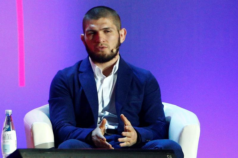 MOSCOW, RUSSIA - NOVEMBER 26: Russian mixed martial artist and UFC lightweight champion Khabib Nurmagomedov attends 2018 Synergy Global Forum in Moscow, Russia on November 26, 2018. (Photo by Sefa Karacan/Anadolu Agency/Getty Images)