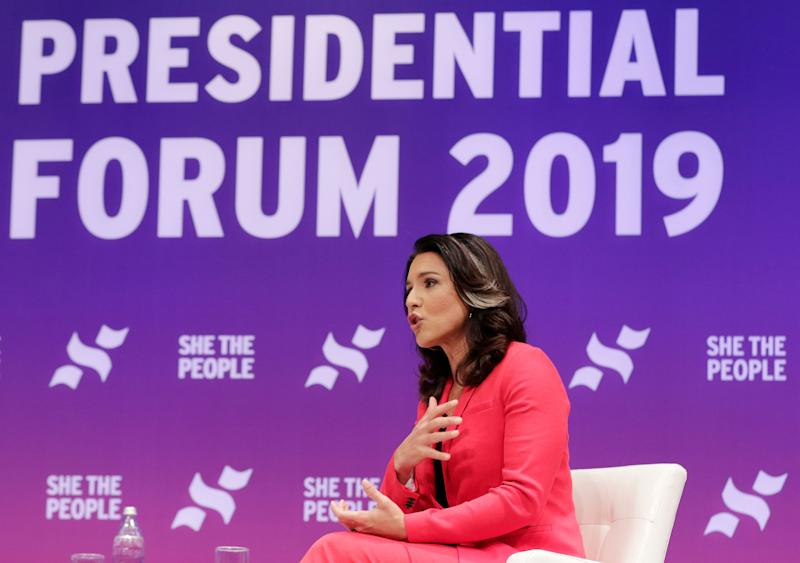 Democratic presidential candidate Rep. Tulsi Gabbard, D-Hawaii, answers questions during a presidential forum held by She The People on the Texas State University campus Wednesday, April 24, 2019, in Houston.
