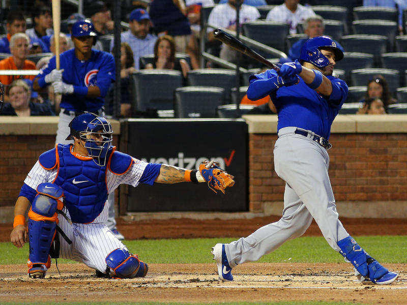 Aug 29, 2019; New York City, NY, USA; Chicago Cubs first baseman Victor Caratini (7) hits a solo home run against the New York Mets during the second inning at Citi Field. Mandatory Credit: Andy Marlin-USA TODAY Sports