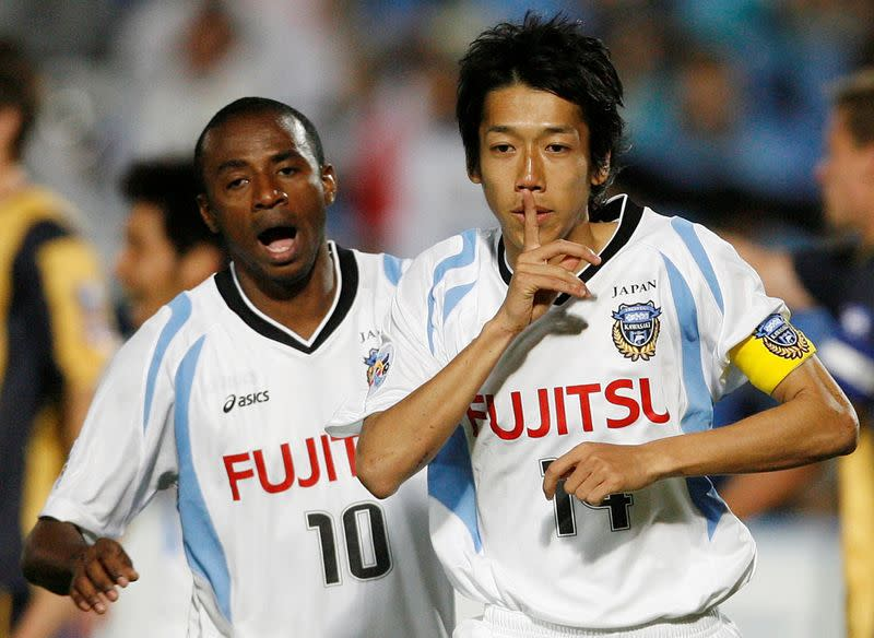 FILE PHOTO: Kawasaki Frontale's Kengo celebrates scoring against the Central Coast Mariners during their AFC Champions League Group H match in Gosford