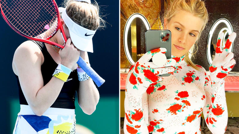 Eugenie Bouchard, pictured here on the tennis court and on Instagram.