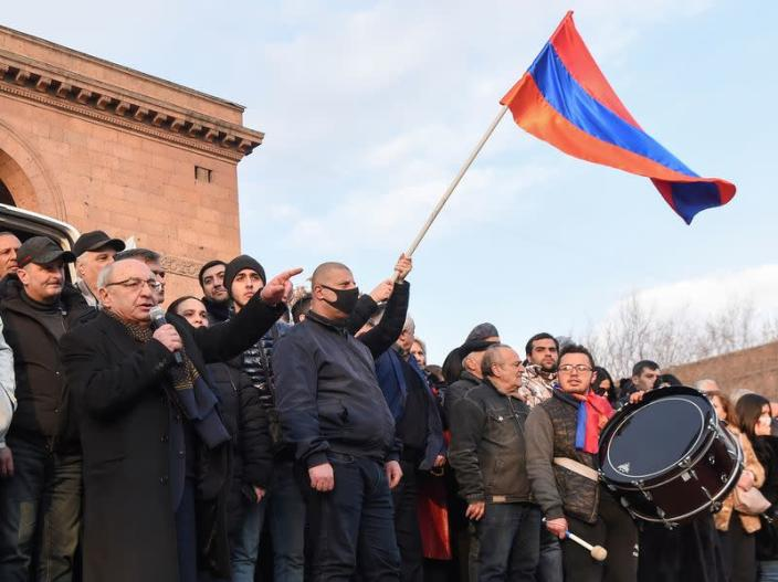 Armenian opposition leader Vazgen Manukyan delivers a speech during a rally in Yerevan