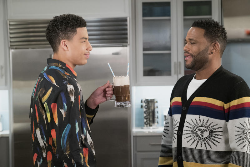 Junior (Marcus Scribner) and Dre (Anthony Anderson), pictured in another episode, debated the merits of NFL players kneeling during the national anthem during a recently shelved episode. (Ron Tom via Getty Images)