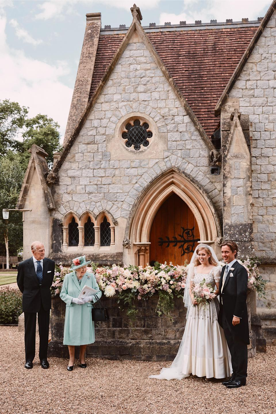 Princess Beatrice and Edoardo Mapelli Mozzi outside The Royal Chapel of All Saints at Royal Lodge, Windsor after their wedding with Queen Elizabeth II and the Duke of Edinburgh. (Benjamin Wheeler/PA Wire)