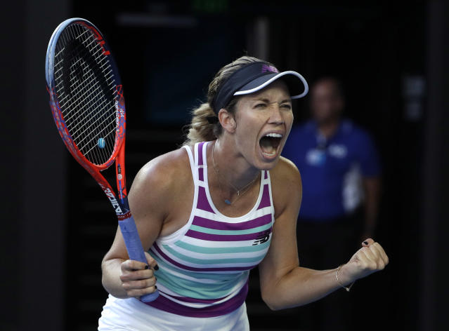 United States' Danielle Collins celebrates after defeating Russia's Anastasia Pavlyuchenkova in their quarterfinal match at the Australian Open tennis championships in Melbourne, Australia, Tuesday, Jan. 22, 2019. (AP Photo/Mark Schiefelbein)