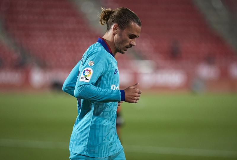 MALLORCA, SPAIN - JUNE 13: Antoine Griezmann of Barcelona looks on during the Liga match between RCD Mallorca and FC Barcelona at Iberostar Estadi on June 13, 2020 in Mallorca, Spain. (Photo by Quality Sport Images/Getty Images)
