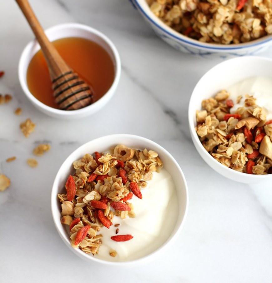 """<p>A tablespoon of honey and a half cup of goji berries are all that sweetens this granola mix. Those goji berries add a gooey chewiness that you won't be able to keep out of your mouth. Get the recipe <a rel=""""nofollow"""" href=""""http://inquiringchef.com/stovetop-granola-with-goji-berries?mbid=synd_yahoofood"""">here</a>.</p>"""