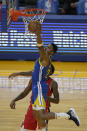 Golden State Warriors forward Kent Bazemore (26) drives to the basket against New Orleans Pelicans forward Naji Marshall (8) during the first half of an NBA basketball game on Friday, May 14, 2021, in San Francisco. (AP Photo/Tony Avelar)