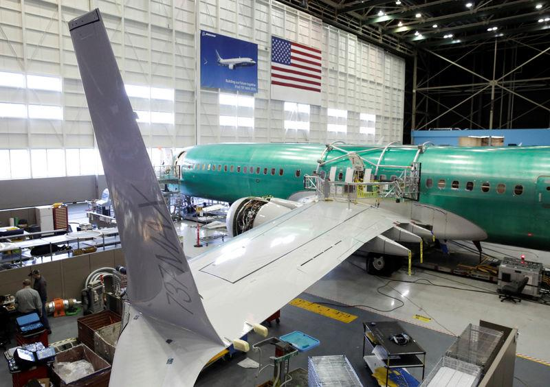Boeing's new 737 MAX-9 is pictured under construction at their production facility in Renton, Washington