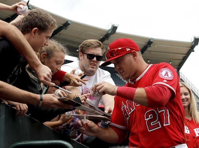 Mike Trout is the finest player since Barry Bonds, Alex Rodriguez and Ken Griffey Jr. tussled for the title. (AP Images)
