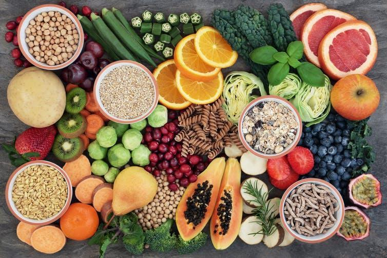 An array of fresh fruit and vegetables