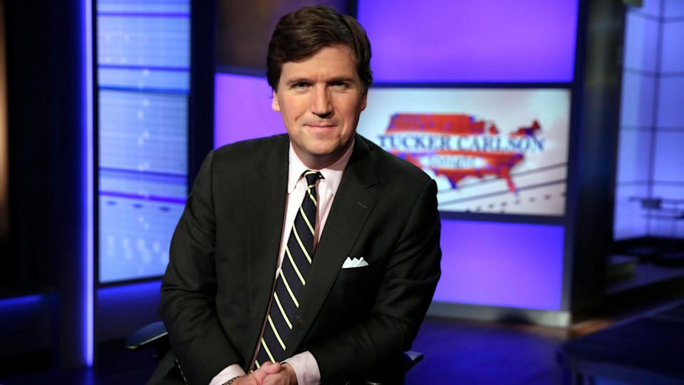 """Tucker Carlson, host of """"Tucker Carlson Tonight,"""" poses for photos in a Fox News Channel studio, in New YorkTucker Carlson, New York, USA - 02 Mar 2017."""