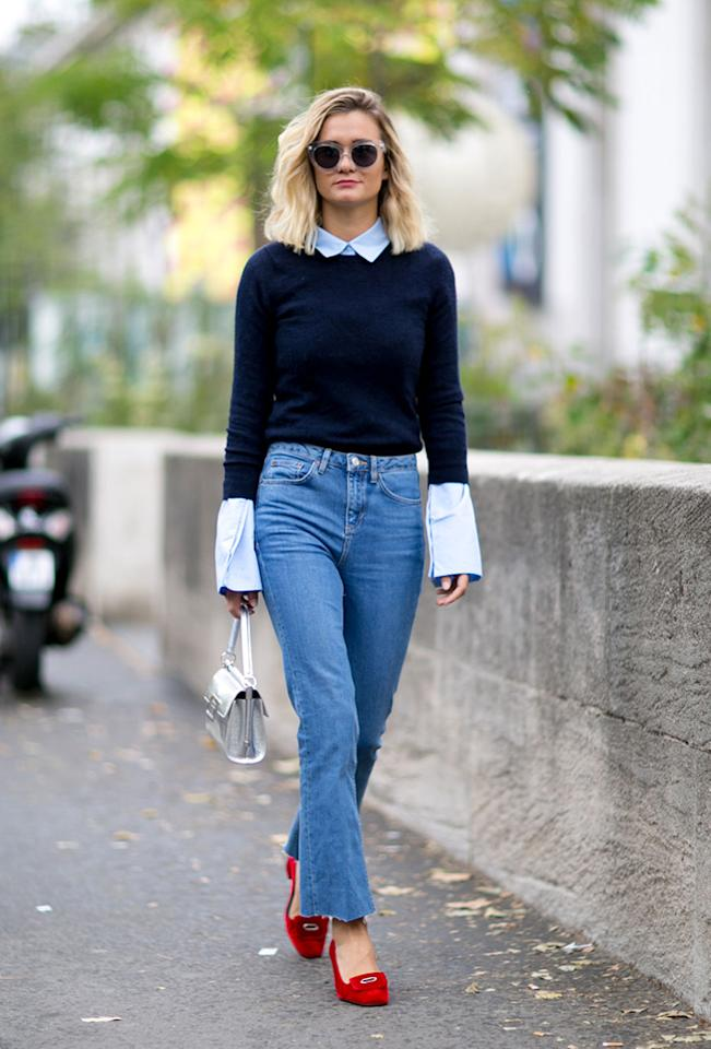 Our sympathies to those corporate folk who can't wear jeans to the office—this look you'll have to save for the weekend. For the rest of you, though, the polished mix of a button-up, a crewneck sweater, and low-heeled loafers is a sure way to keep things casual without looking the least bit sloppy.