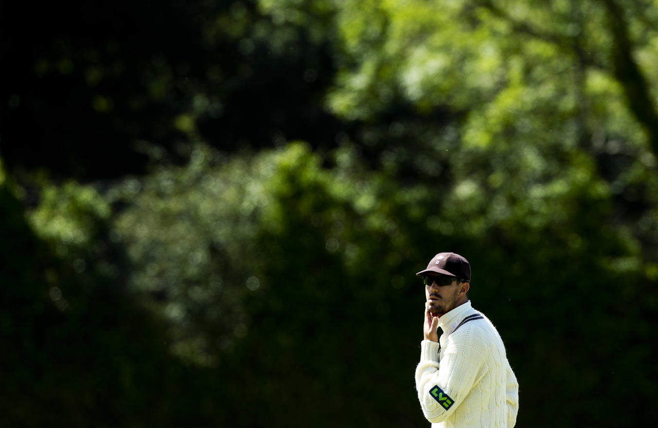 GUILDFORD, ENGLAND - JULY 11: Kevin Pietersen of Surrey looks on during the LV County Championship match between Surrey and Lancashire at Guildford Cricket Club on July 11, 2012 in Guildford, England. (Photo by Ben Hoskins/Getty Images)