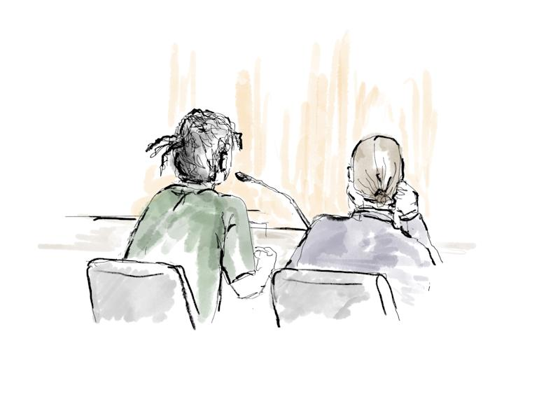 This court sketch created on Aug. 1 shows A$AP Rocky, left, and his lawyer, Slobodan Jovicic, during his assault trial in Stockholm. (Photo: ANNA-LENA LINDQVIST/AFP/Getty Images)