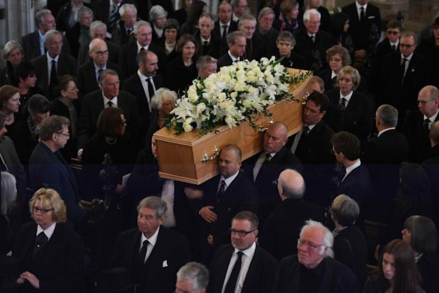 <p>Family and friends of Professor Stephen Hawking attend his funeral at the University Church of St Mary the Great in the centre of Cambridge, England on March 31, 2018. (Photo: Andrew Parsons/i-Images via ZUMA Press) </p>