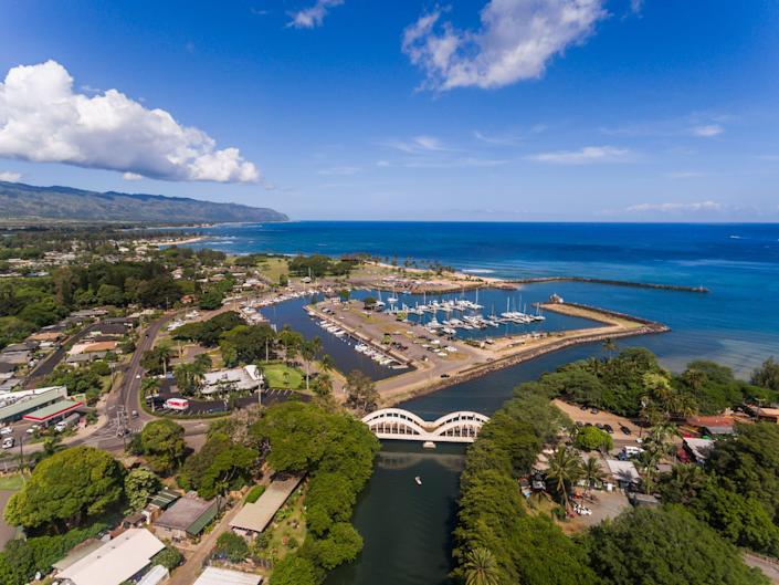 the town of Haleiwa, Hawaii overlooking the waters